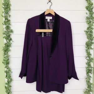 Christian Dior Purple Wool Blazer Jacket Skirt 6